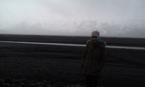 At the base of Eyjafjallajokull in my new Icelandic wool hat!