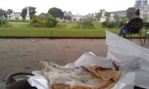 Nutella crepe in the Tuilleries Gardens
