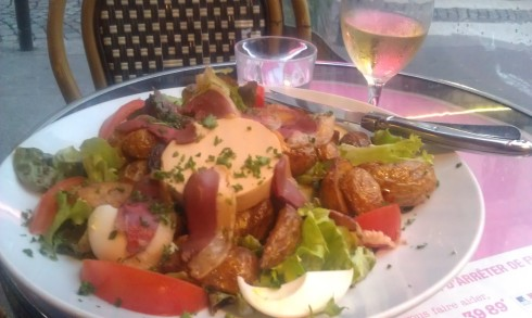 The French don't fuck around with salads. This one has foie gras, duck breast, and roast potatoes.
