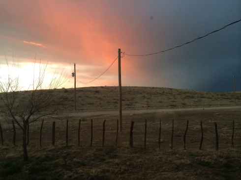 New Mexico sunset with a storm rolling in.