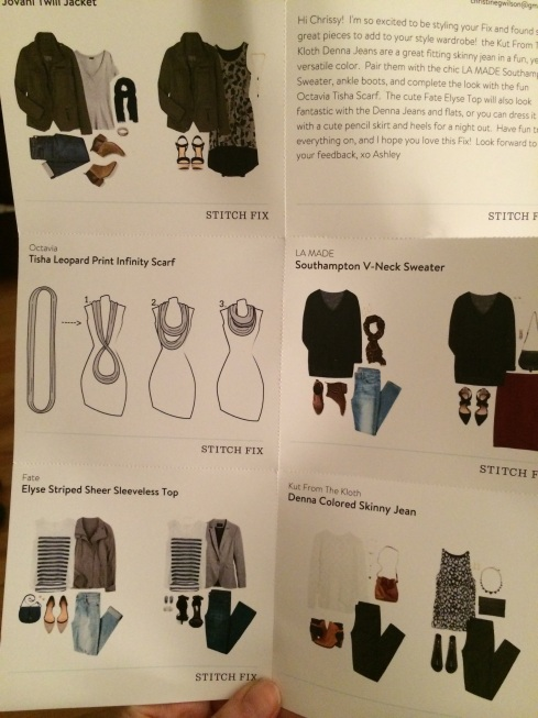 This month's box. The stylist sends these cards showing fashion-incompetent me how to wear each piece.