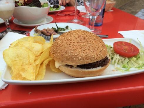 Ox Tail hamburger at El Pimpi in Malaga.